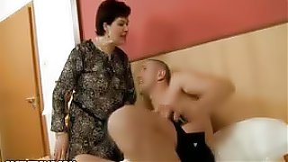 Young stud with a huge cock is fucking this granny pussy hard and fast and she loves it...