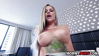 Blonde milf mom seducing son into sex
