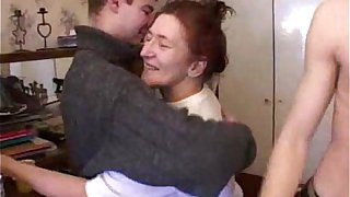 Old woman fucking with young guys