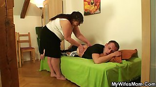Busty girlfriends mother helps him