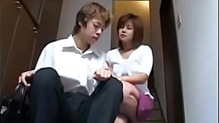 Shy japanise milf plays with hairy pussy and young boy