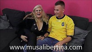 Porn casting: MILF pornstar Musa Libertina fucks with young boy