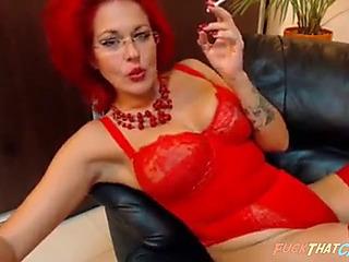 Redheaded mother i'd like to fuck smokin' on web camera